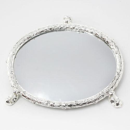 ミラーテーブル ジュエリーテーブル 鏡 ミラー クリスタルガラス 亜鉛合金 銀色 5551-JC17