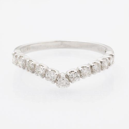 受注生産 プラチナ/Pt850 ダイヤモンド 指輪/リング マリッジ 婚約 イニシャル 5592-UK18