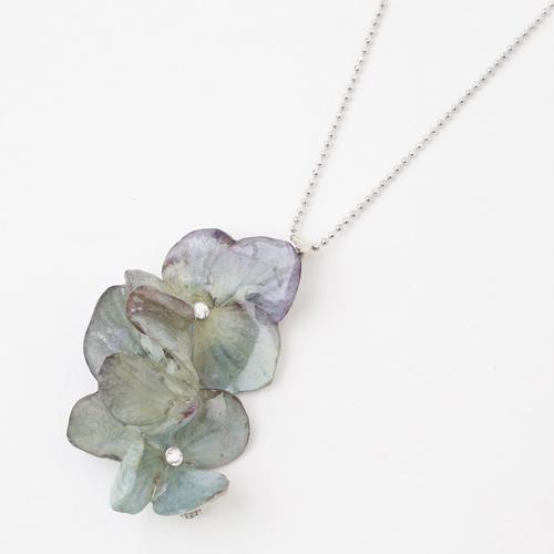 日本製 紫陽花 ペンダント/ネックレス スワロフスキー 樹脂 5611-LL18