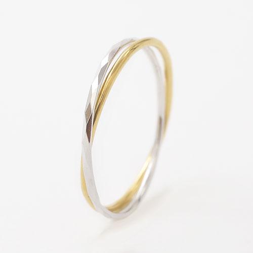 18金 K18 イエローゴールド ホワイトゴールド リング 指輪 シンプル 2連 5647-UK20