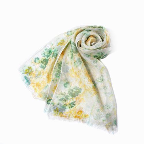 インド製 花柄ストール マフラー ショール ストール ファッション雑貨 レーヨン シルク 花柄 フラワー イエロー カディー  インド製
