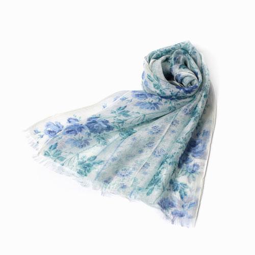 インド製 花柄ストール マフラー ショール ストール ファッション雑貨 レーヨン シルク 花柄 フラワー ブルー カディー  インド製