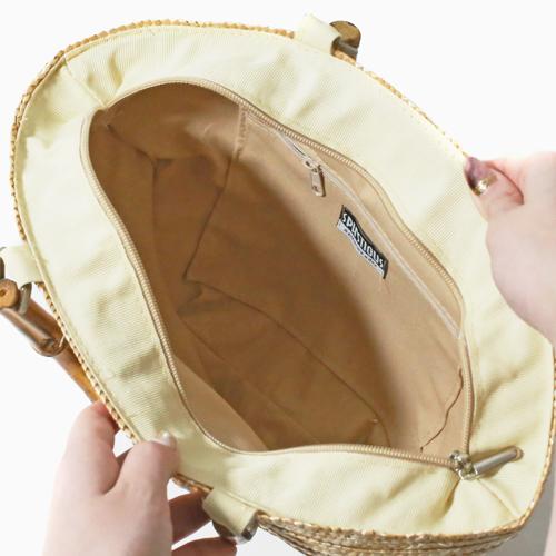 高級 イタリア製 かごバッグ ハンドバッグ ベージュ 5654-TO21
