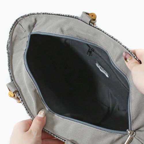 高級 イタリア製 かごバッグ ハンドバッグ グレー 5655-TO21