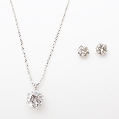 福袋 2019年 プラチナ900 ダイヤモンドネックレス&ピアスセット 合計2点 6009-XS19