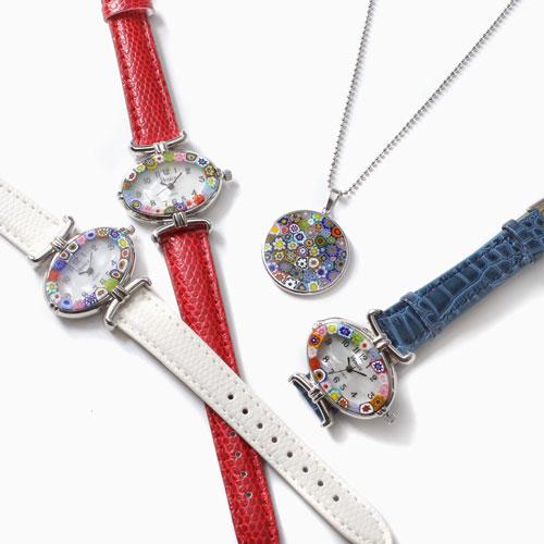 【母の日】ベネチアンガラス 時計&ペンダント セット 限定  6018-XS21