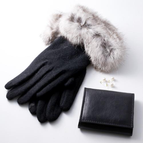 【祝7周年 福袋】 手袋 コインケース イニシャル 片耳イヤリング 3点セット 6021-XS21