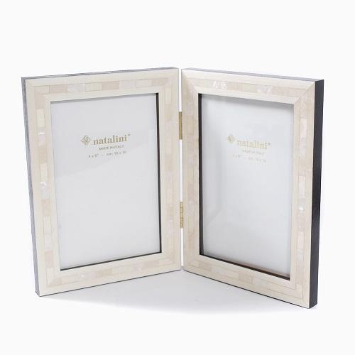 イタリア製 手作り 天然木製 ツイン 写真立て フォトフレーム ミニ (ダブル ホワイト白蝶貝) 7782-NL21