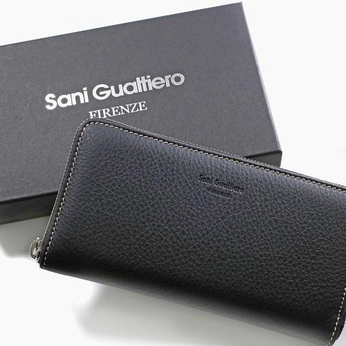 イタリア製 Sani Gualtiero レザー 長財布 ウォレット 男女兼用 ブラック 7791-SG21