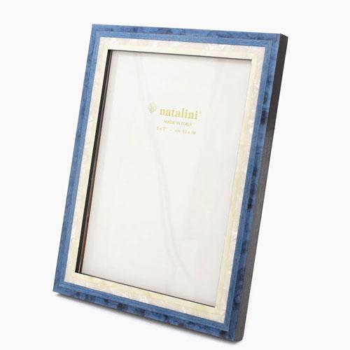 イタリア製 ナタリーニ NATALINI 写真立て フォトフレーム 写真入れ 天然素材 木製 ベルガモ ブルー 青 ホワイト白 7809-NL20