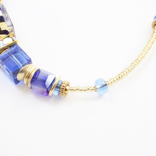 イタリア製 ベネチアンガラス ブレスレット 山吹色 ハスキーブルー ダッディ・ブルー 純金箔入り 7937-IN19
