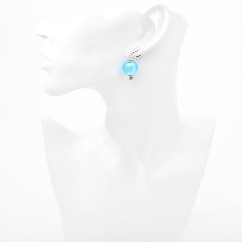 イタリア製 INES design ベネチアンガラス ピアス ブルー ガラスボール 7952-IN19