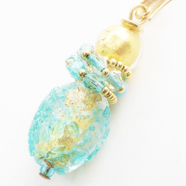イタリア製 ベネチアンガラス フックピアス 山吹色 ブルーグリーン アンティコ・ロザ  純金箔入り 7979-IN19