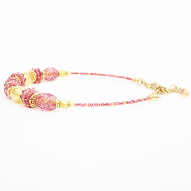 イタリア製 ベネチアングラス ピンク 山吹色 ネックレス アンティコ・ロザ 純金箔入り 7984-IN19