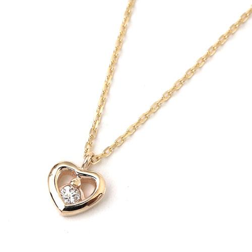 10金 K10YG イエローゴールド ネックレス アズキチェーン ペンダント ハート ダイヤモンド 8001-UK18