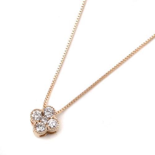 10金 K10PG ピンクゴールド ネックレス ベネチアンチェーン ペンダント クローバー ダイヤモンド 8002-UK18