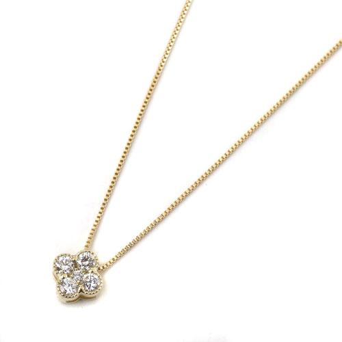 10金 K10YG イエローゴールド ネックレス ベネチアンチェーン ペンダント クローバー ダイヤモンド 8003-UK18