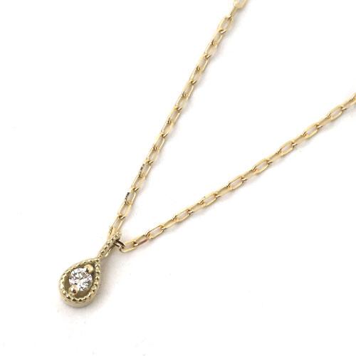 10金 K10YG イエローゴールド ネックレス アズキチェーン ペンダント ティアドロップ ダイヤモンド 8007-UK18