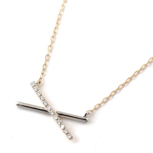 プラチナ Pt900  10金 K10 コンビ ネックレス ダイヤモンド アズキチェーン 8018-UK18
