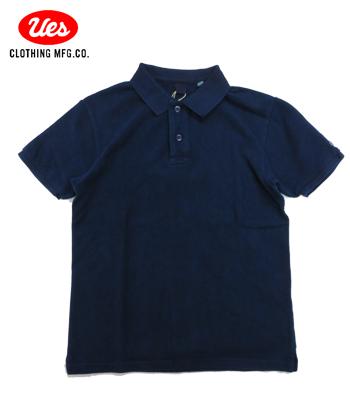 UES 吊り鹿のインディゴ染ポロシャツ