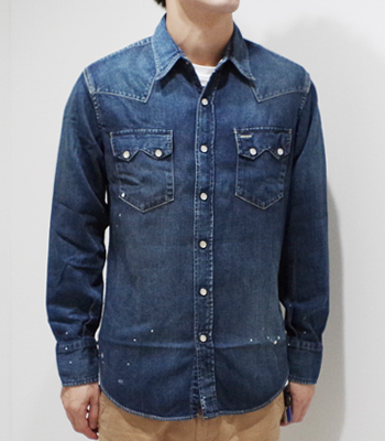 SUGAR CANE 8oz. USED DENIM WESTAN SHIRT