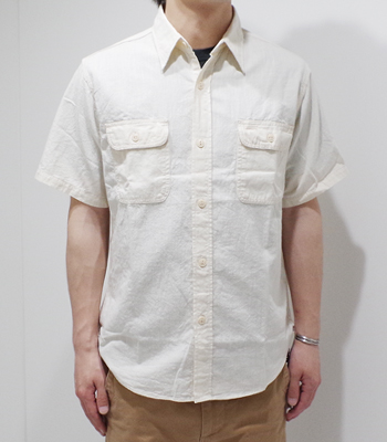 SUGAR CANE WHITE CHAMBRAY WORK SHIRT