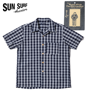 MUSASHIYA 9oz. PALAKA CHECK OPEN SHIRT