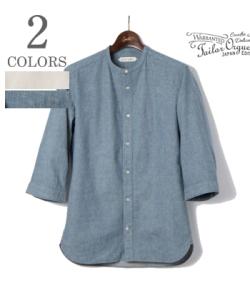ORGUEIL Linen Band Collar Shirt