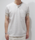 DAPPER'S Classical Pattern Print Four Button Henley Rib Tee