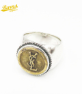 BARNS Antique Button with Silver Ring