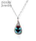 ZUNI Tear Drop INLAY PENDANT
