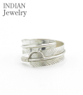 INDIAN NAVAJO FEATHER SILVER RING