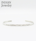 INDIAN JEWERY NAVAJO STAMPED SILVER BANGLE