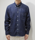 SUGAR CANE 8.5oz. BLUE DENIM BUTTONDOWN SHIRT