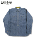 SUGAR CANE 5oz. INDIGO STRIPE WORK SHIRT