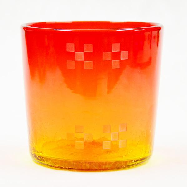 ミンサー入り琉球ガラス/ロックグラス 赤