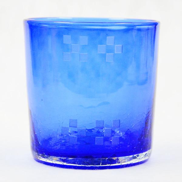 ミンサー入り琉球ガラス/ロックグラス 青