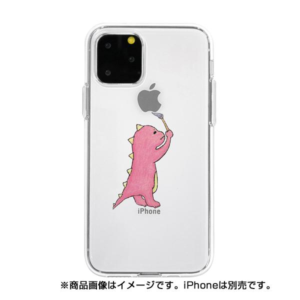 【KS】【新品】AS4US Dparks iPhone11 Pro Max ソフトクリアケース お絵かきザウルス ピンク [DS17291i65R] R021613◆