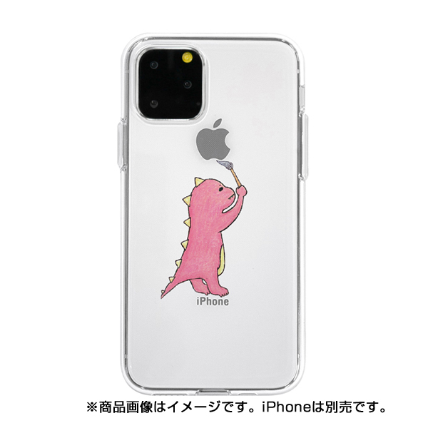 【KS】【新品】AS4US Dparks iPhone11 Pro Max ソフトクリアケース お絵かきザウルス ピンク [DS17291i65R] R021613◆