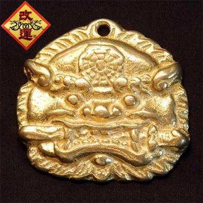 【改運】銅製 獅子牌(金色)【メール便可】(f20129)