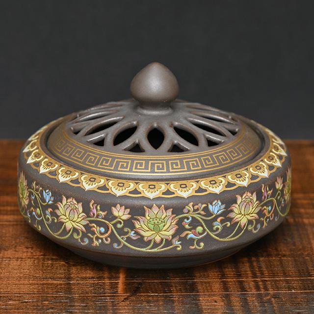 陶器製の香炉(蓮華)(zb212101)