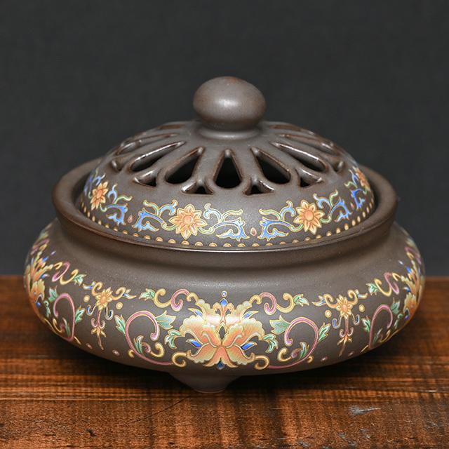陶器製の香炉(花)(zb212102)