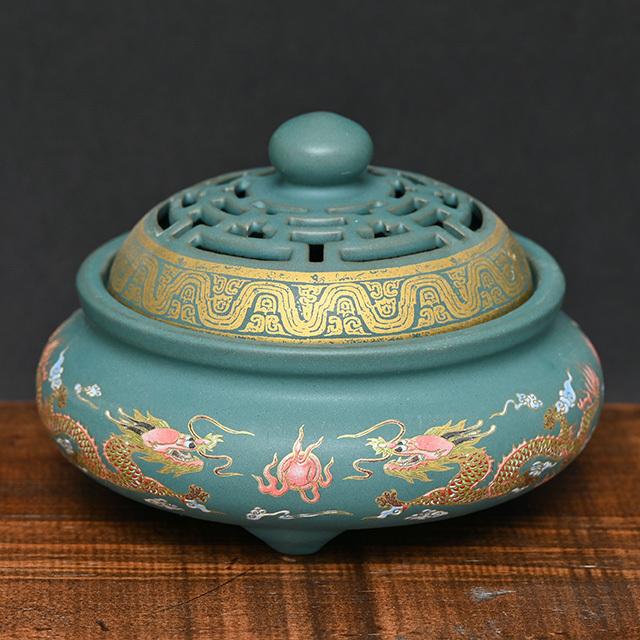 陶器製の香炉(向龍)(zb212103)