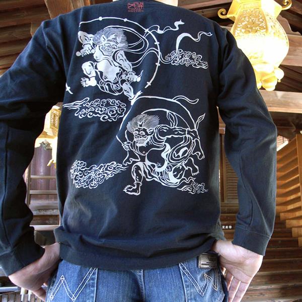 長袖和柄Tシャツ「風神雷神図」(黒×白)
