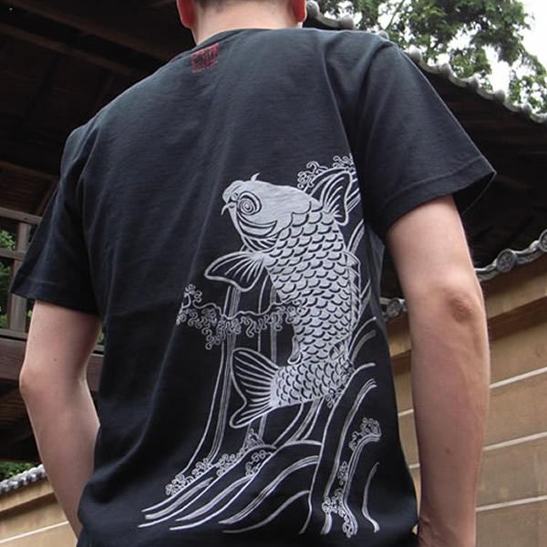 半袖和柄Tシャツ「鯉図」(黒)