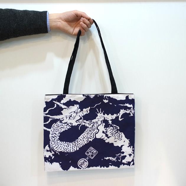 【日本製/京都】和柄手ぬぐいトートバック「龍」(ヨコ型)hachi.×JAPO-RHYTHM コラボ商品