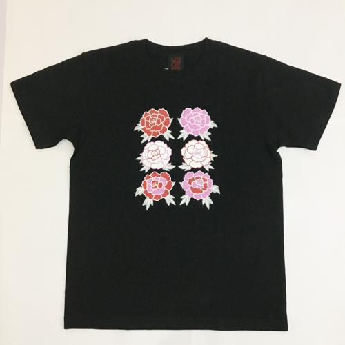 半袖和柄Tシャツ「牡丹」(黒)