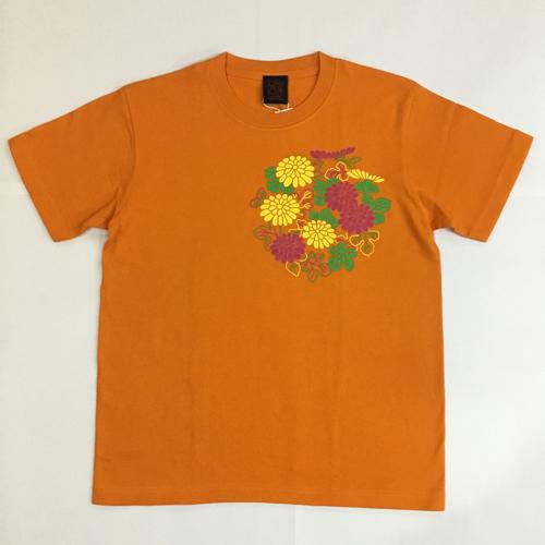 半袖和柄Tシャツ「菊」(橙)