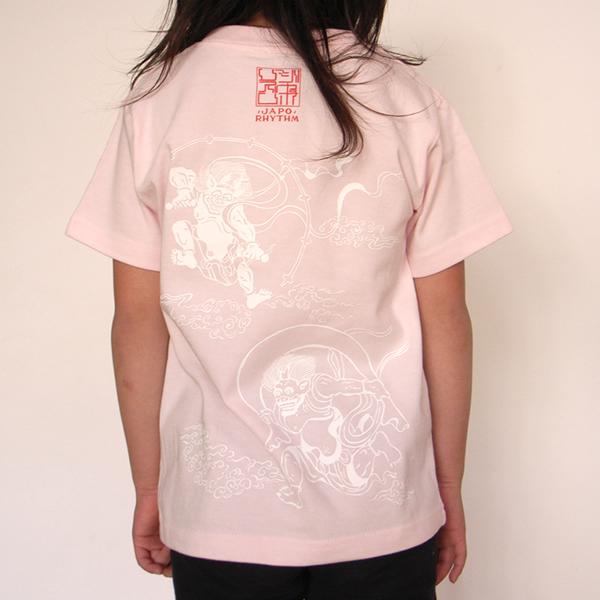 子供・半袖和柄Tシャツ「風神雷神図」(薄ピンク)