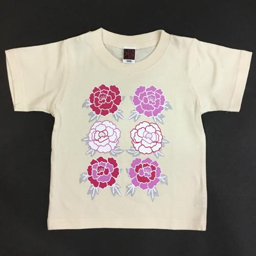 子供・半袖和柄Tシャツ「牡丹」(ナチュラル)